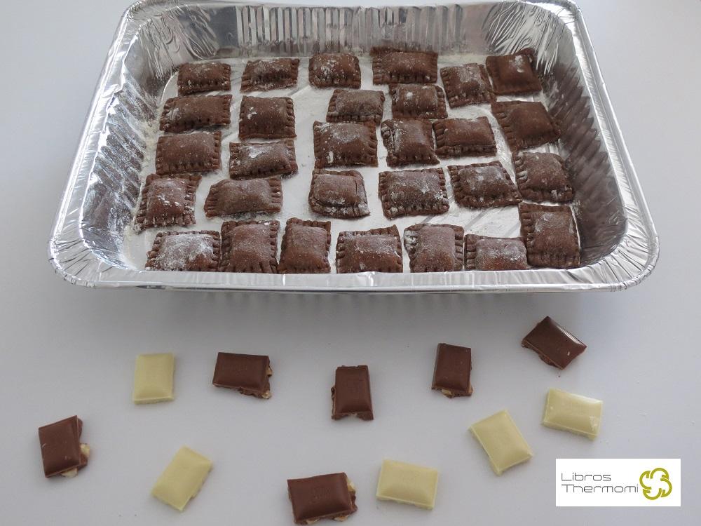Ravioli de Chocolate con Crema de Vainilla