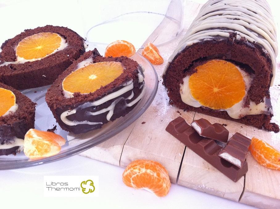 Brazo de Chocolate con Crema Kinder y Mandarinas con Thermomix
