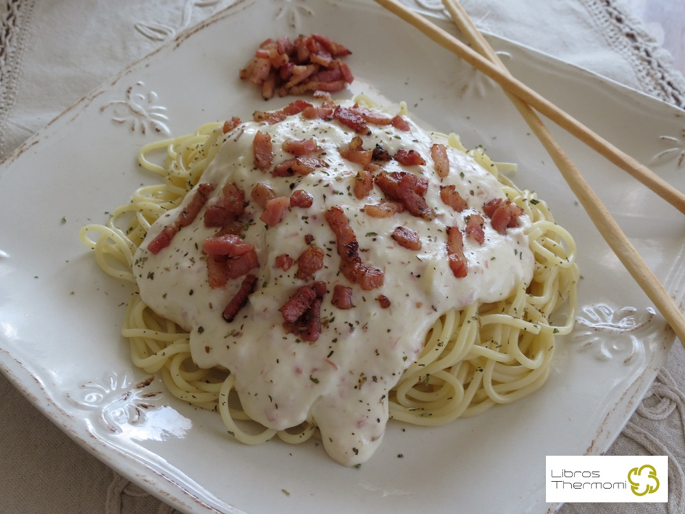 Spaguetti a la crema con Thermomix